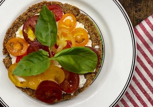 Cherry Tomatoes, Ricotta EVOO Rolled Oat Tart